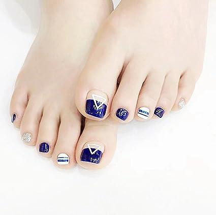 jovono 24pcs falsas uñas de los dedos falsos consejos de uñas de los pies Full Cover. Pasa ...