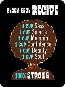 Black Girl Recipe Sticker 1 Piece 4 x 3 Inch Phone Laptop Inspirational Motivational Decal for Strong Women