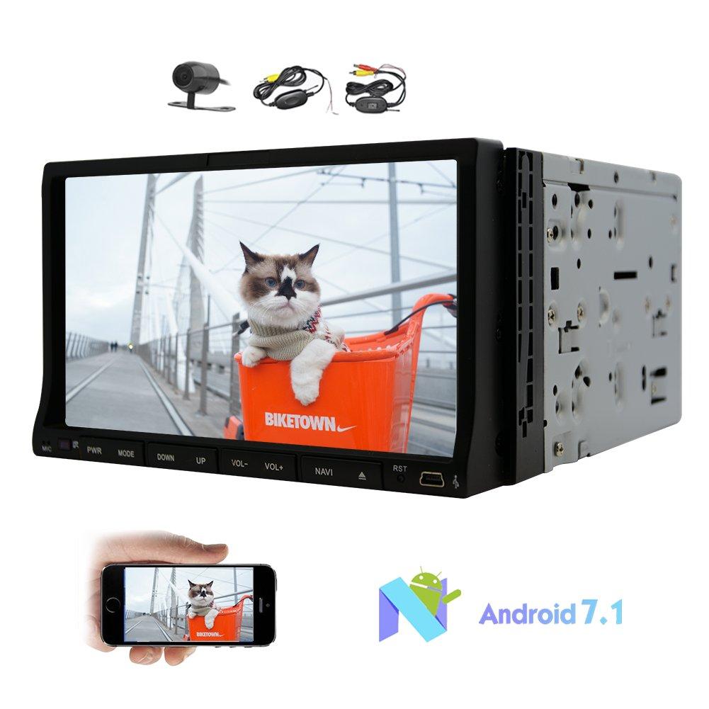 ダッシュダブルDINでのAndroid 7.1カーDVDプレーヤーナビゲーションHD 7インチスライディングタッチスクリーンステレオシステムオクタコア32G ROMカーラジオのステレオ対応無線LAN、4G / 3G Mirrorlinkブルートゥース無料ワイヤレスカメラのGPS B0778H12YT