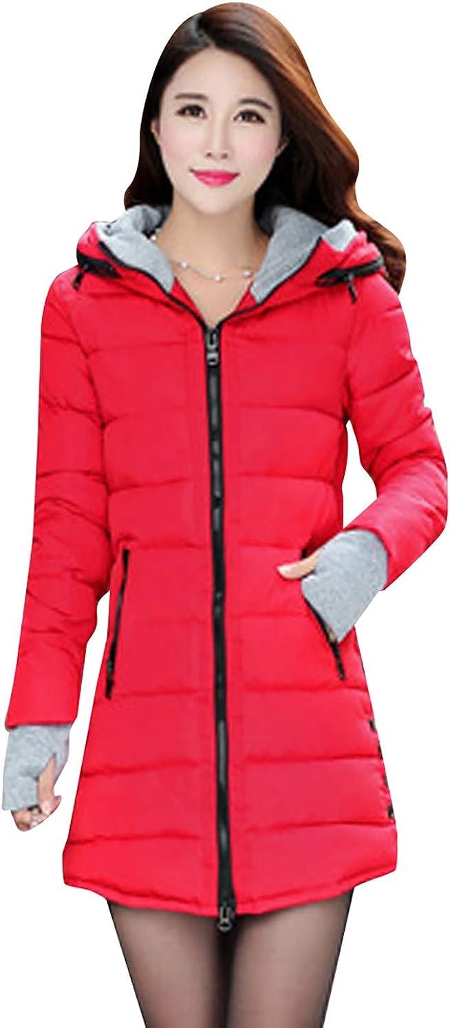 OMZIN Women/'s Cotton Down Hooded Slim Fit Jackets Solid Color Zipper Coat Keen Length Parka