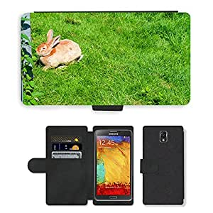 PU LEATHER case coque housse smartphone Flip bag Cover protection // M00116940 Liebre Conejo Piel animal lindo Meadow // Samsung Galaxy Note 3 III N9000 N9002 N9005