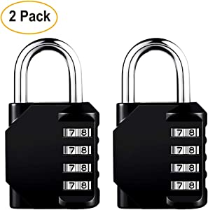 Pack of 2 Combination Padlocks 4 Digits, Set Your Own Combinations Locks for Locker, School, Sports, Gate, Keyless Resettable Security Lock, Indoor, Outdoor, Daily Use Padlock Set