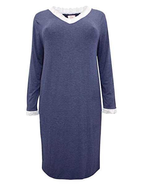 e6ed45af49f Ex Evans Ladies Navy Lace Trim Long Sleeve Nightdress Nightie Sizes 18-32  New: Amazon.co.uk: Clothing