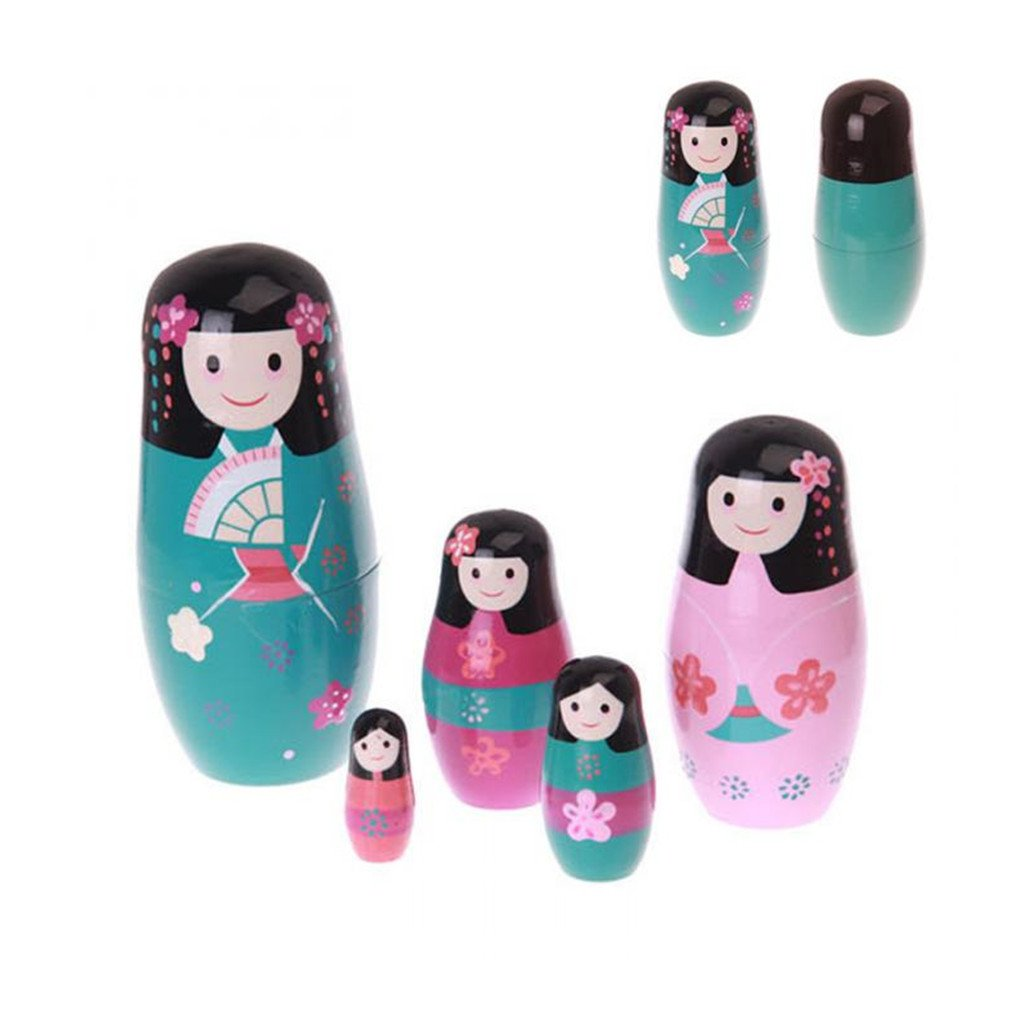 5pcs/ Set Wooden Russian Matryoshka Doll Nesting Dolls Girls Glaze Toys Home Decor Handmade Crafts Kids Gifts