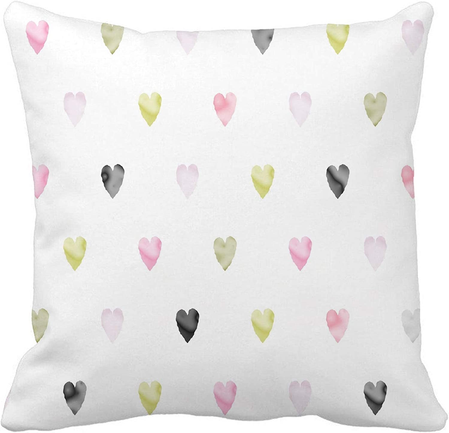 Awowee Throw Pillow Cover Watercolor Hearts Pattern Tony Pink Gold Grey Beige 20x20 Inches Pillowcase Home Decorative Square Pillow Case Cushion Cover Home Kitchen