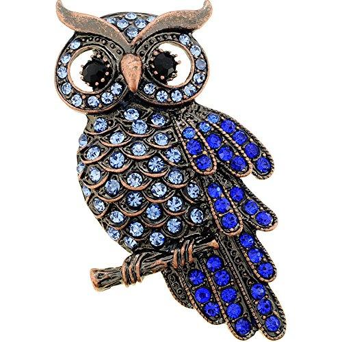 Owl Bird Pin - Vintage style Sapphire Owl Bird Pin Brooch