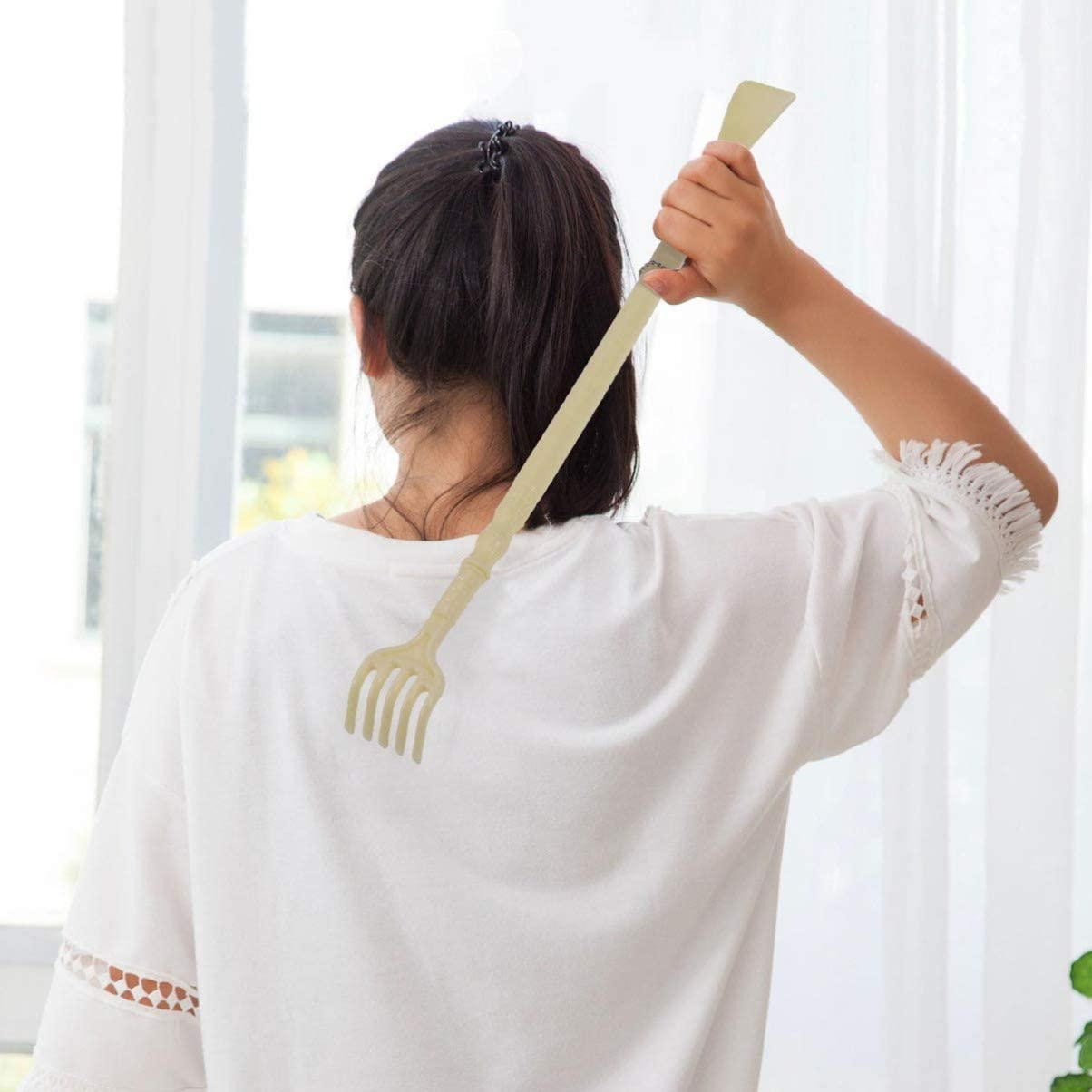 Healifty Back Scratcher with Shoe Horn Long Handle Shoe Horn Hanging Shoe Horn Massage Claw PP Shoe Horn for Itchy Backs and Putting on Shoes While Standing Pink