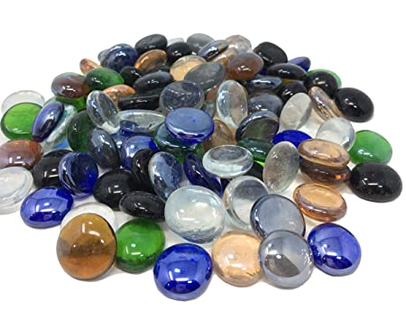 100 Approx Mixed Colour Round Decorative Glass Pebbles Stones