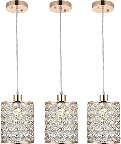 Cuaulans 3 Pack Modern Gold Crystal Ceilng Pendant Light, Adjustable Handing Pendant Lighting Fixture for Kitchen Dinning Room Bedroom Hallway Bar
