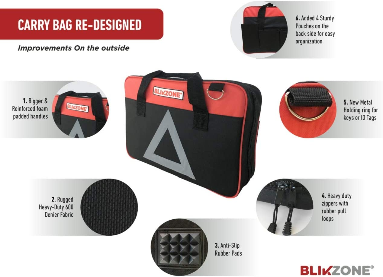 Blikzone Auto Roadside Assistance Car Kit Classic Bundled 82 Pc for Vehicle Emergency Portable Air Compressor Digital Tire Pressure Gauge and All Essential Tools and Aid to Drive Safe Jumper Cables