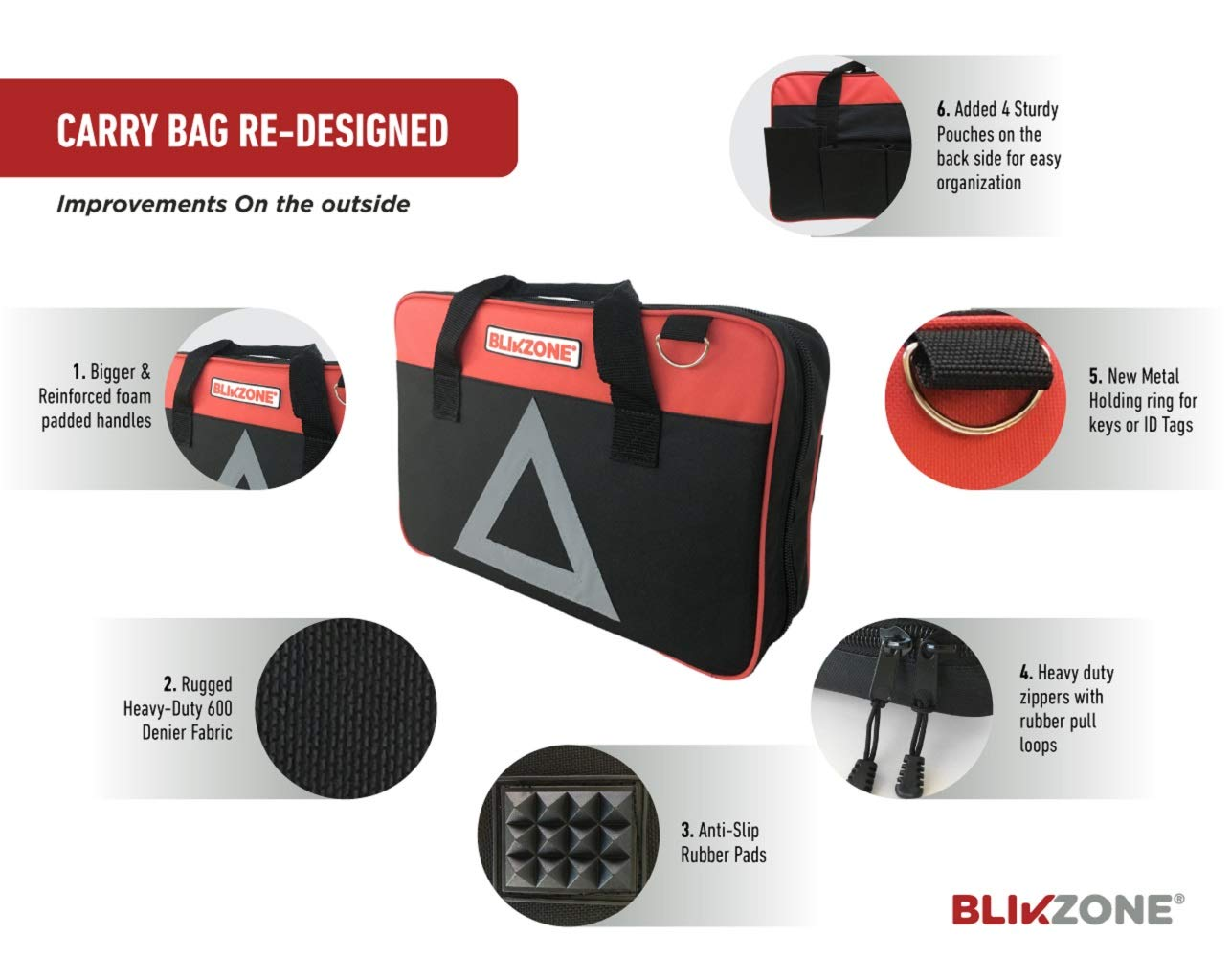Emergency Triangle Tow Strap BLIKZONE 82- Pc Auto Roadside Assistance Emergency Essentials Digital Car Kit Truck /& RV with Tire Repair Kit Jumper Cables Portable Air Compressor