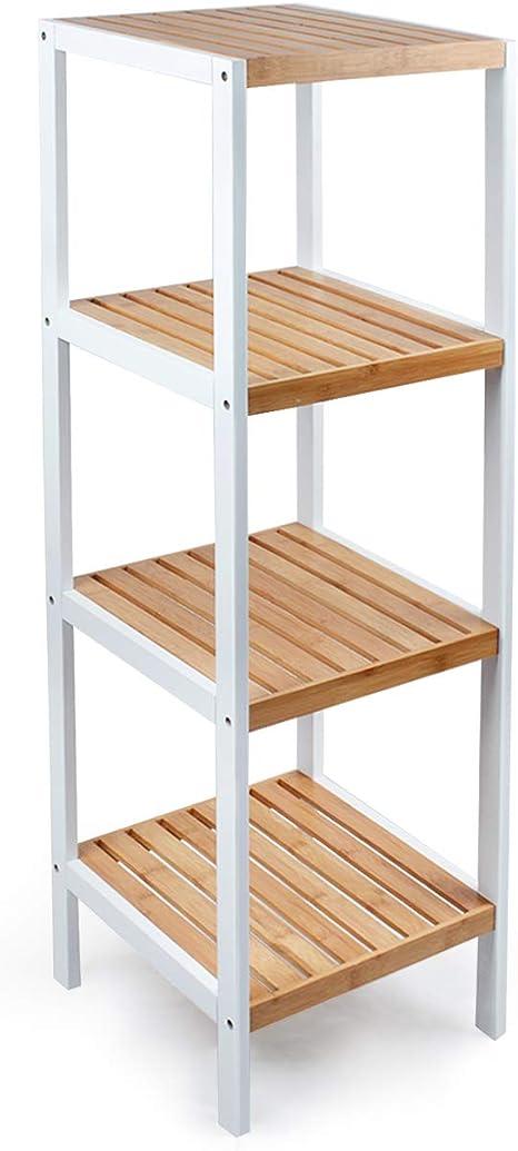 Estantería de cocina, baño, oficina, 4 estantes, se puede utilizar como soporte para flores, color blanco