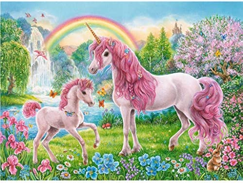 MXJSUA 5d Diamond Painting Kits Full Round Drill Rhinestone Pictures for Home Wall Decor 12x16Inch Rainbow Unicorn