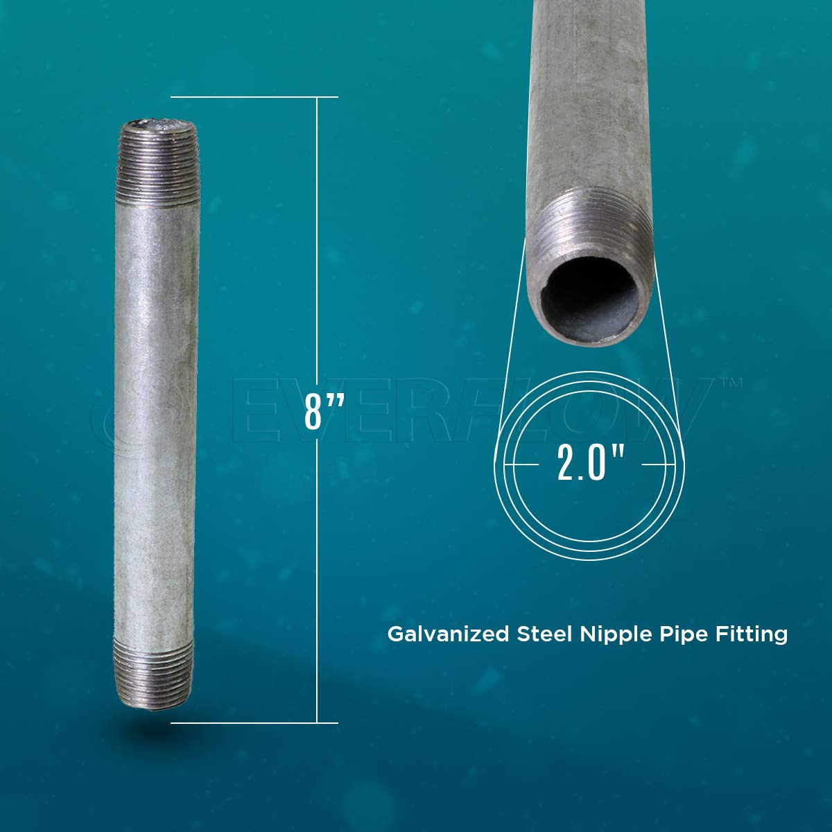 Everflow NPGL2050-10 Connectors Galvanized Pack of 10 2 x 5 Used To Build DIY Furniture Pre Cut Industrial Steel Nipple Pipe Threaded Pipes and Fittings