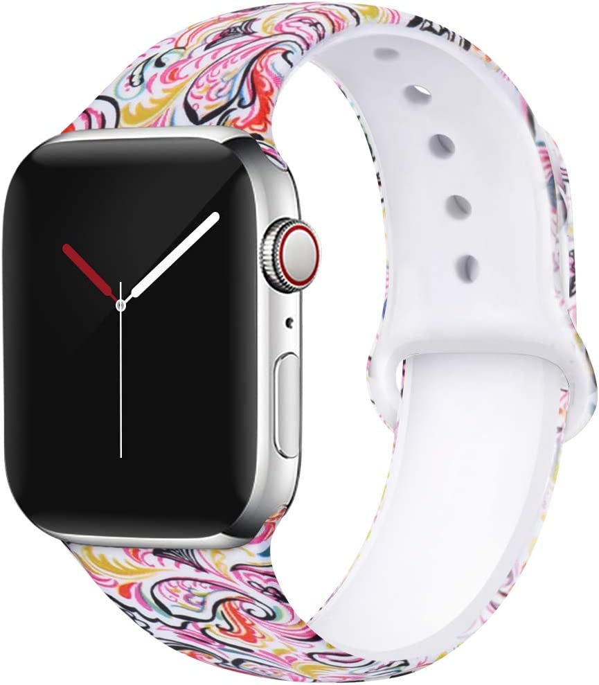 OriBear Compatible with Apple Watch Band 40mm 38mm Elegant Floral Bands for Women Soft Silicone Solid Pattern Printed Replacement Strap Band for Iwatch Series 4/3/2/1 S/M Black Temptation