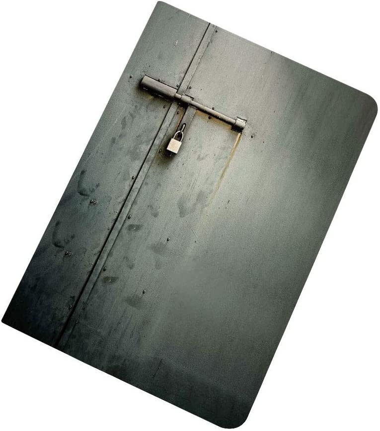 Grey iPad Air 2 / iPad Air Case,Close Up Photo of Abandoned Warehouse Home Store Door with a Hanging Lock Print Stand Folio Cover Case for Apple iPad 9.7 inch Charcoal Grey