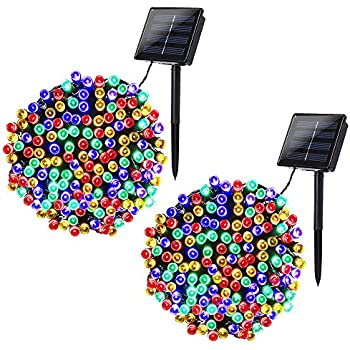 Joomer 2 Pack Solar Christmas Lights 72ft 200 LED 8 Modes Solar String Lights, Waterproof Solar Fairy Lights for Garden, Patio, Home, Wedding, Party, Christmas Decorations (Multi-Color)