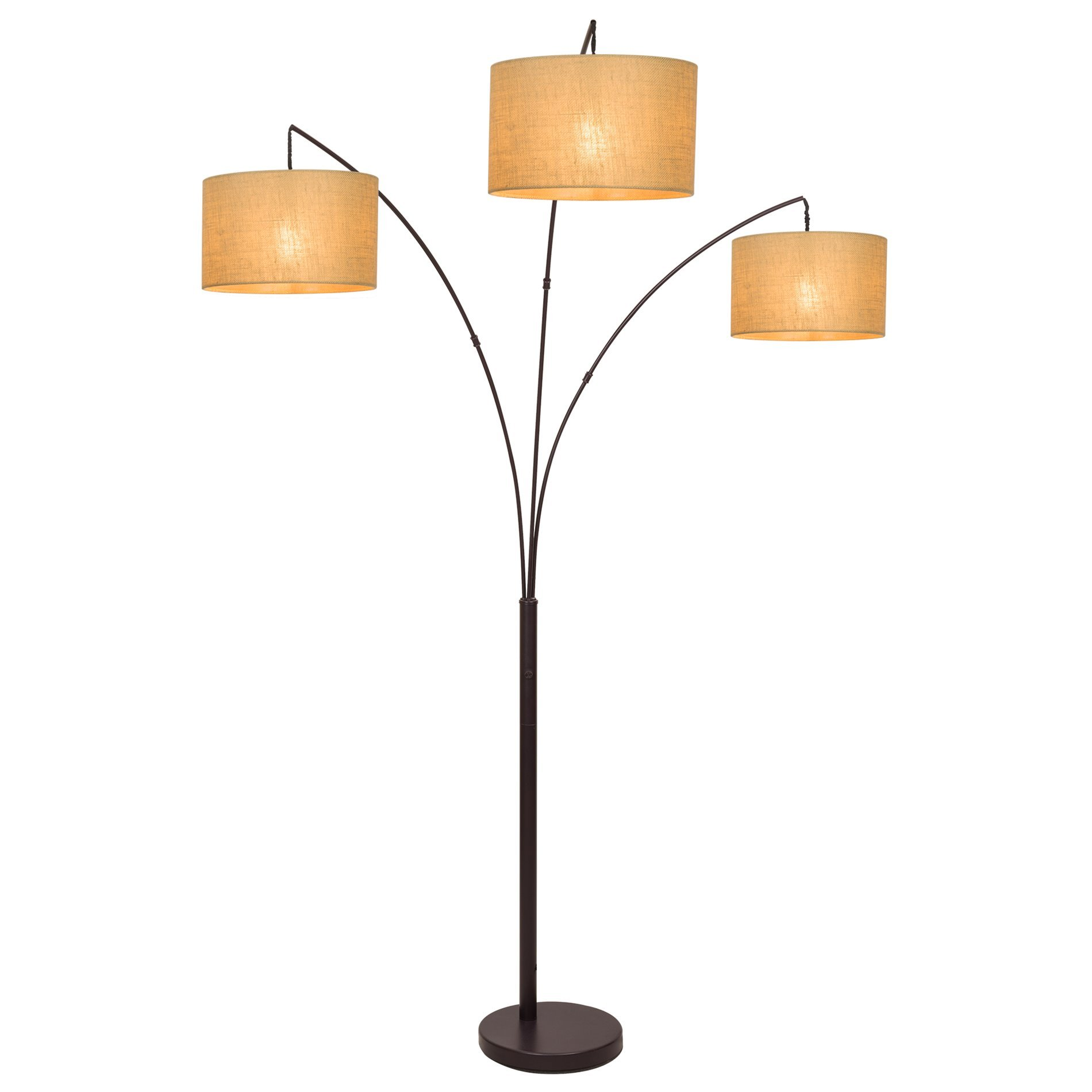Revel Akira 80'' 3-Light Arc Floor Lamp, Antique Bronze Finish & Beige Burlap Drum Shades