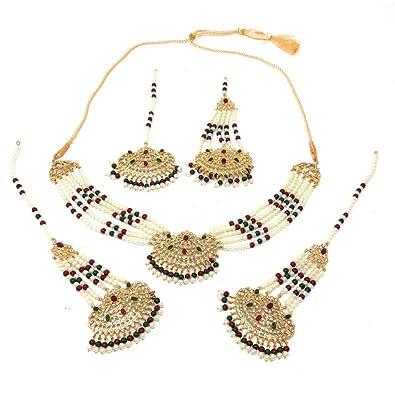 bb877072b8713 Amazon.com: Ethnic Bridal Pakistani Gold Plated Choker Necklace Set ...