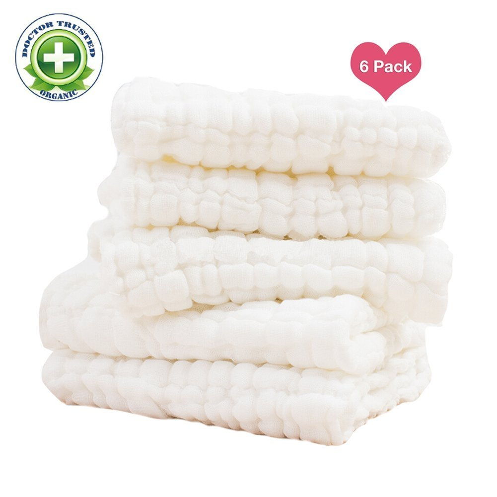 Baby Towels - Medical Grade Natural Antibacterial, Super Soft and Water Absorbent, Newborn Cotton Gauze Towels for Baby Sensitive Skin, Suitable for Baby's Delicate Skin - Baby Gift 6 Pack Set 13 x 13 Inches AnotherKiss