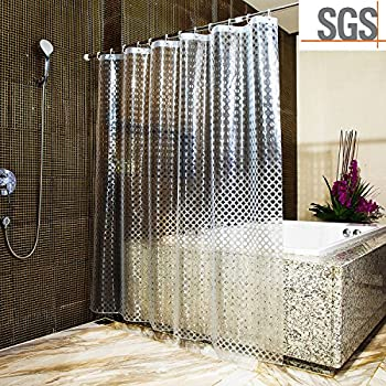 Clear Shower Curtains ABC Life SGS Certified 100% Safety EVA Material  Mildew U0026Water Resistant No