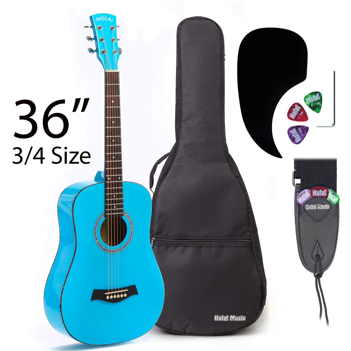 Acoustic Guitar Bundle Junior (Travel) Series by Hola! Music with D'Addario EXP16 Steel Strings, Padded Gig Bag, Guitar Strap and Picks, 3/4 Size 36 Inch (Model HG-36LB), Light Blue by Hola! Music