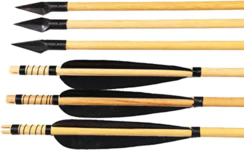 Huntingdoor 6 PCS Turkey Feather Wooden Shaft Hunting Shooting Arrows 31inch with A-803 Arrowhead 150Grain (Black/White)