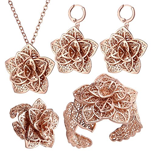 Flowers Gold Jewelry Set - Rose Gold Plated Jewelry Set Bridesmaid Necklace Bracelet Earrings Ring Flower Shaped