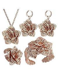 Luxury Wedding Jewelry Sets 4 Pieces Floral Pendant Neckalce Drop Earrings Cuff Bracelet Bangle Rings Bridal Set