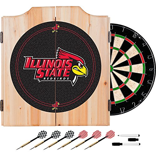 Illinois State University Deluxe Solid Wood Cabinet Complete Dart Set - Officially Licensed! by TMG