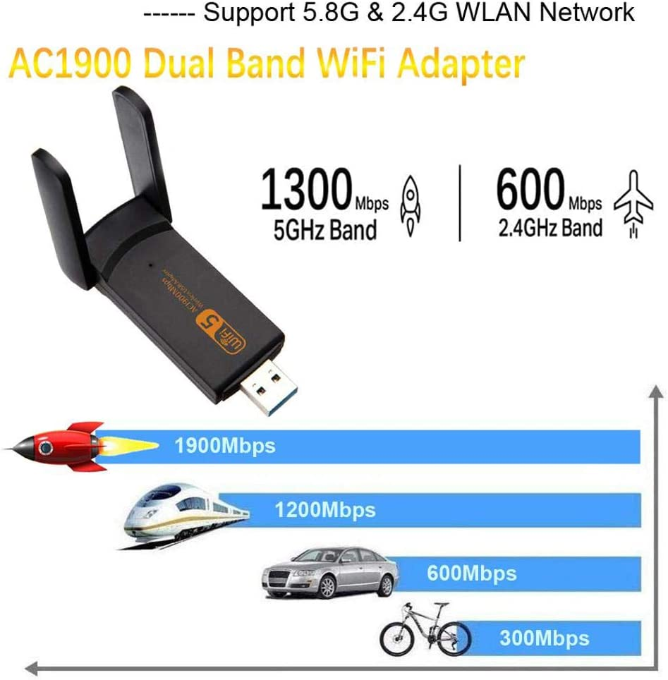 USB 3.0 Wireless Netzwerk Karte Mini Gr/ö/ße Adapter f/ür PC//Desktop//Laptop mit Windows 10//8//8.1//7 wlan stick 1900 Mbps Dual Band 2.4GHz//5GHz USB WiFi Dongle WLAN adapter