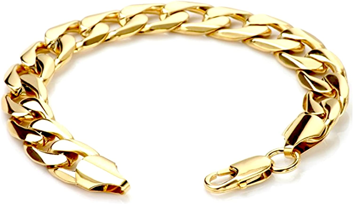 Hollywood Jewelry 11mm Gold Chain Bracelet for Men, Women. Hip Hop Miami Cuban Link 20X More 24k Plating Than Other Chain - The Look & Feel of Solid Gold - Free Lifetime Replacement Guarantee