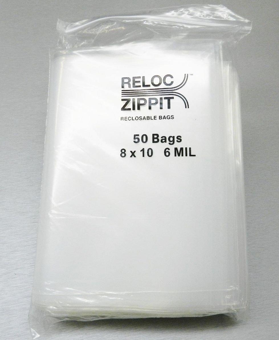 50 Ziplock Bags 8''x10'' Heavy Duty 6 Mil Thick Reloc Zippit Clear 8x10 Bag (1.7FRE) by RELOC ZIPPIT