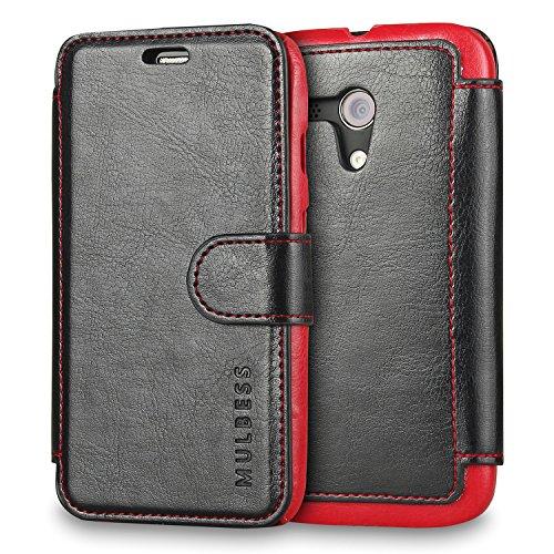 (Moto G Case Wallet,Mulbess [Layered Dandy][Vintage Series][Black] - [Ultra Slim][Wallet Case] - Leather Flip Cover With Credit Card Slot for Motorola Moto G [2013 1st Gen 4.5 inch])