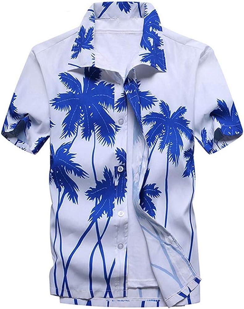 Mens Hawaiian Printed Shirt Mens Summer Beach Short Sleeve Floral Shirts 4,4XL