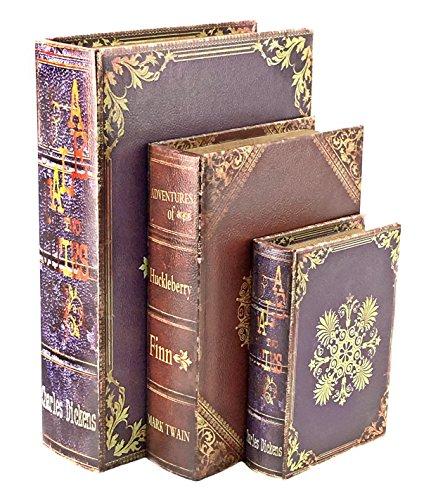 Bellaa 28038 Book Box Decorative Vintage Floral Set of 3 13