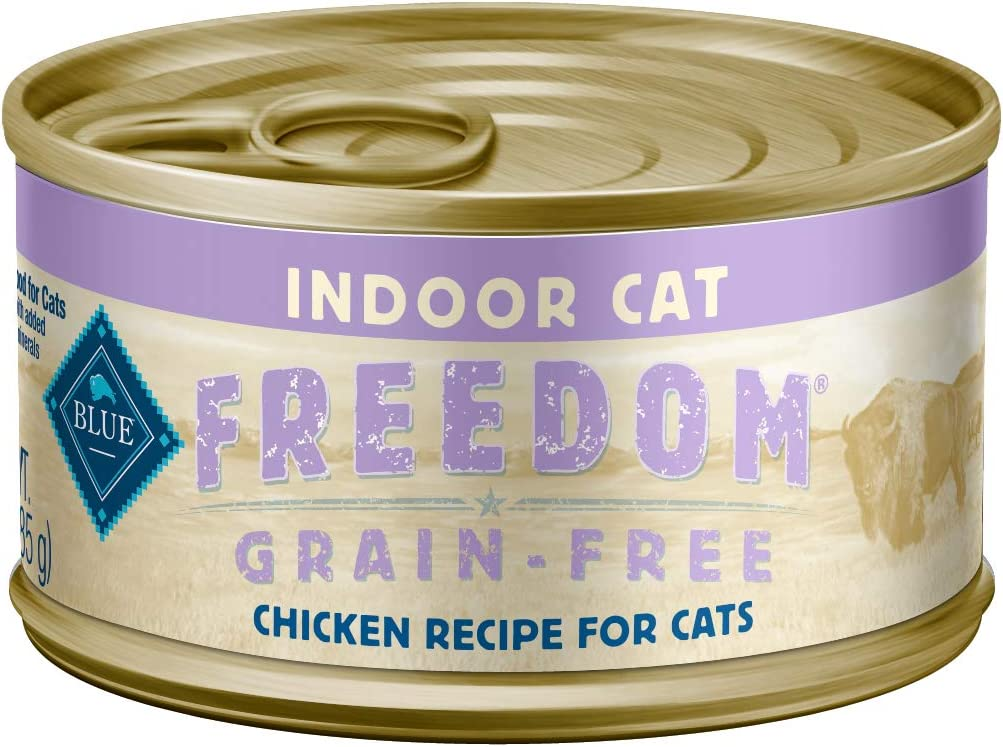 Blue Buffalo Freedom Grain Free Natural Adult Pate Wet Cat Food Indoor Chicken 3-oz cans (Pack of 24)