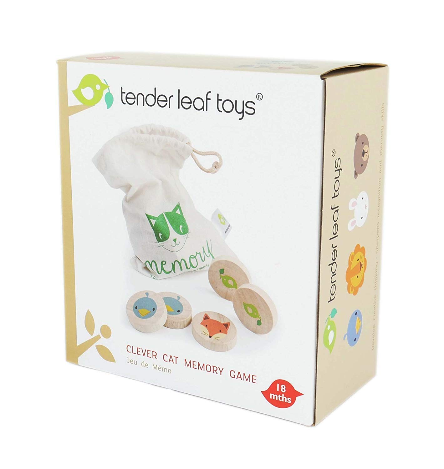 Tender Leaf Toys Clever Cat Memory Game with Canvas Storage Bag - Fun Play While Improving Visual Memory Skills - 18 Months +