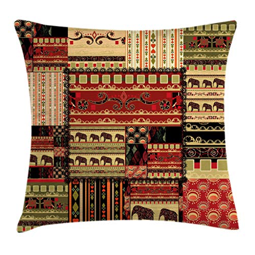 Ambesonne African Throw Pillow Cushion Cover, Patchwork Style Asian Pattern with Elephants and Cultural Ancient Motifs Print, Decorative Square Accent Pillow Case, 18 X 18 Inches, Red Green Black