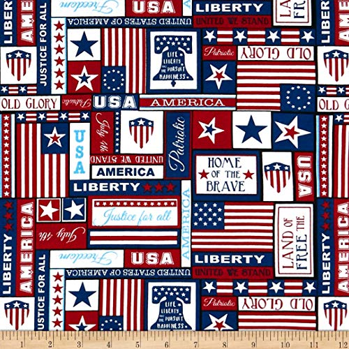 Santee Print Works United We Stand Patriotic Fabric, Red/White/Blue, Fabric By The Yard ()