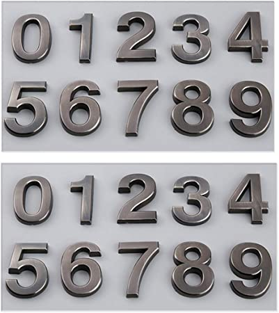 Self Adhesive 3D House Shop Door Numbers 5CM Tall Stickers Silver  Black 0 to 9