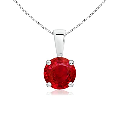 Angara Round Ruby Solitaire Necklace in Platinum - July Birthstone Pendant pRfSj