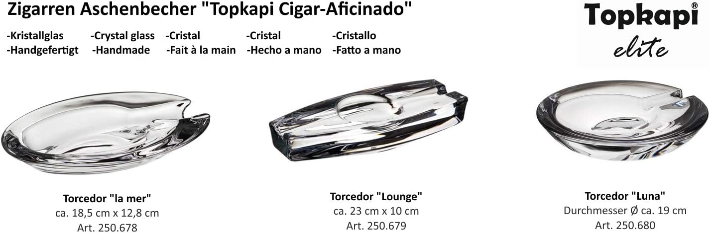 Kristall Glas Aschenbecher f/ür Zigarren La Mer Topkapi Elite Torcedor Cigar Aficinado Handgefertigt