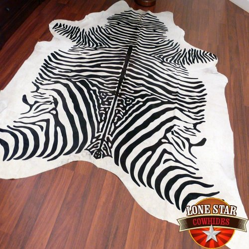 South American Hides New Cowhide Zebra Print Printed Cow Skin Leather Rug, Black/White