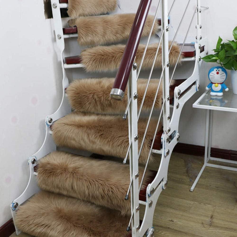 XOCKYE Alfombras para escaleras - Alfombrillas para peldaños Antideslizantes Adhesivas Amortigua Sonidos Antideslizante Rugs Lana Artificial Alfombra@Bronceado_Los 24X65cm: Amazon.es: Hogar