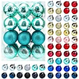 Christmas Balls Ornaments for Xmas Tree, 24ct Plastic Shatterproof Baubles Colored and Glitter Christmas Party Decoration 3.15 inch Set (Teal)