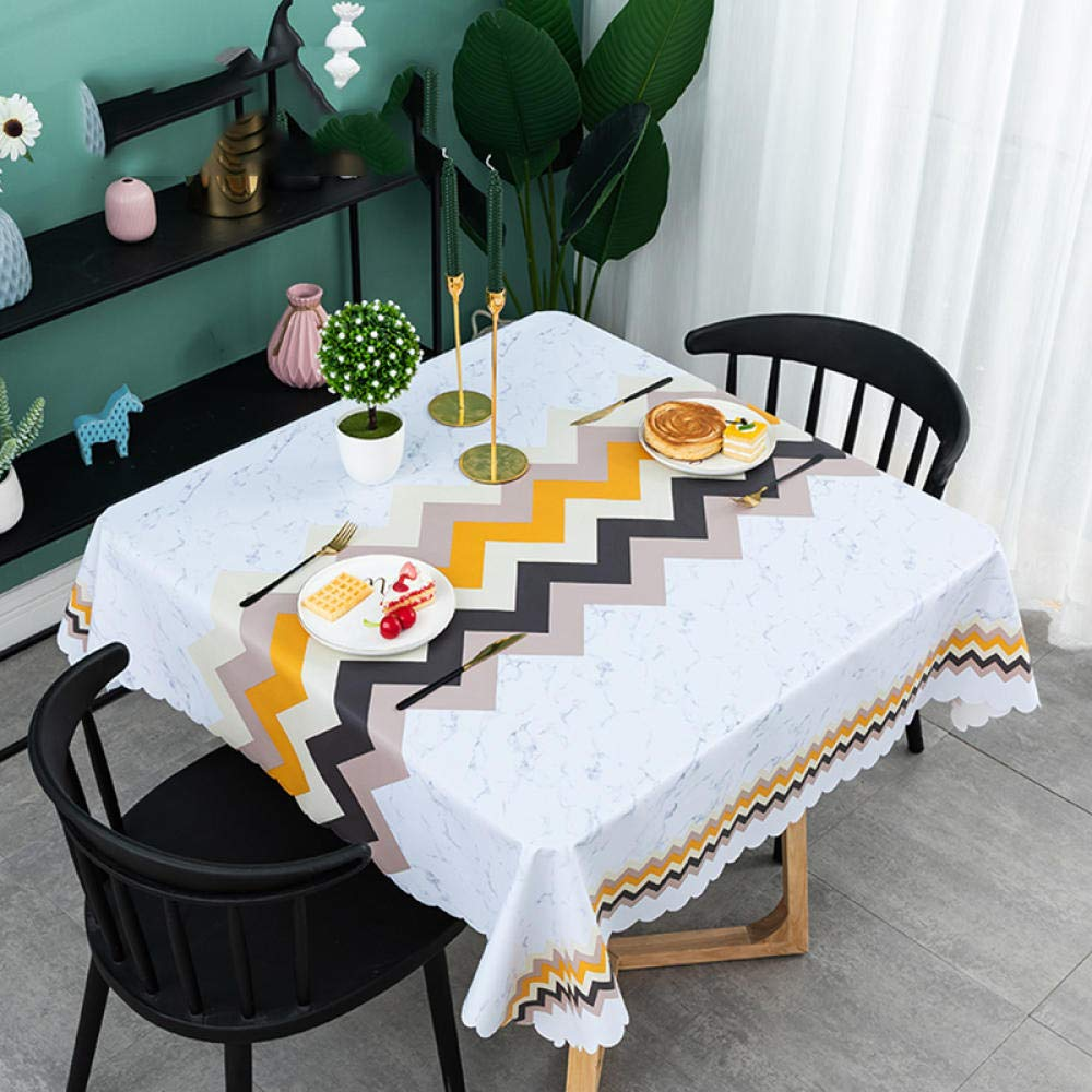 WJJYTX Oilcloth Tablecloth,Square Waterproof Oblong Rectangular Table Cover Home Decoration for Party Wedding Square Home-135 * 220_F