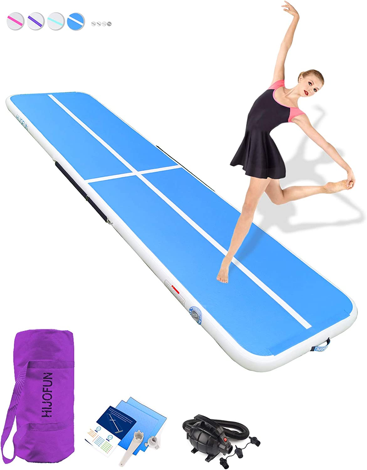 HIJOFUN Premium Air Track 10ft 13ft 16ft 20ft Airtrack Gymnastics Tumbling Mat Inflatable Tumble Track with Electric Air Pump for Home Use/Gym/Yoga/Training/Cheerleading/Outdoor/Beach/Park : Sports & Outdoors