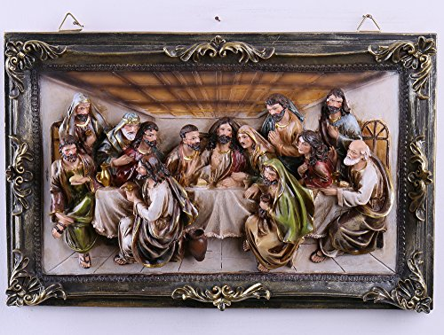 Duane Loyd Design 16-Inch Christmas Last Supper Wall Hanging Plate Décor Resin Cameo Sculpture Plaque ()