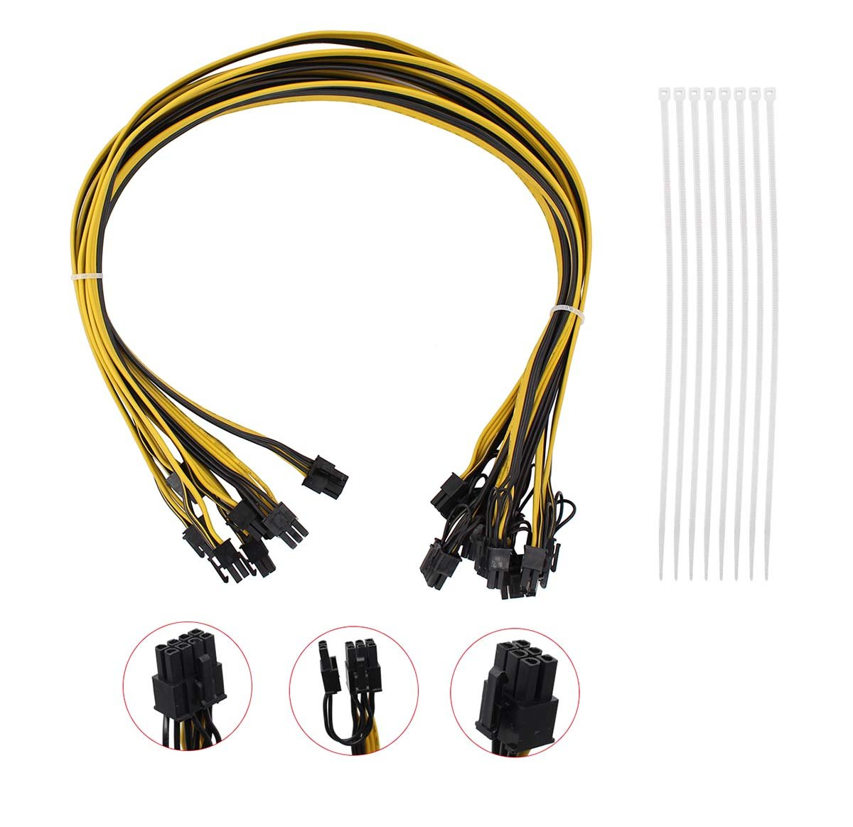 Pack of 8 16AWG 6Pin PCI-E to 8 (6+2) Pin Male to Male Power Extension Cable 27.5'' Inch/70CM for GPU/PSU Breakout Board Ethereum ETH Mining Rigs Power Supply + Nylon Cable Ties